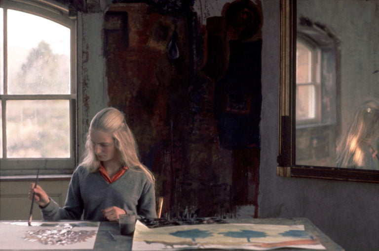 GB. An art student paints a picture for a school  exhibition. 1961.