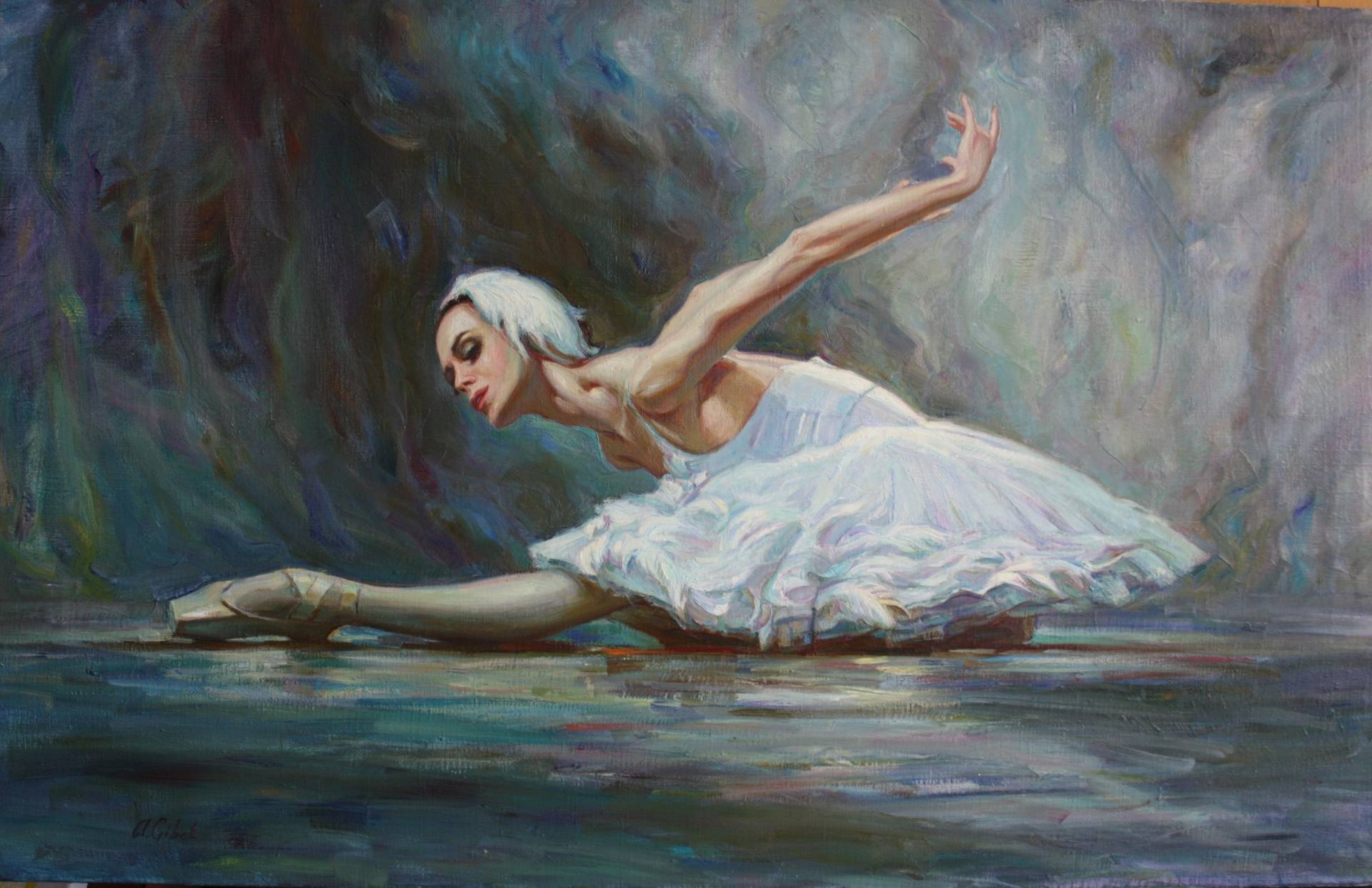 Dance of swan (prima balerina of Mariinskiy theater, ballet Swan lake) Painting by Alisa Gibet